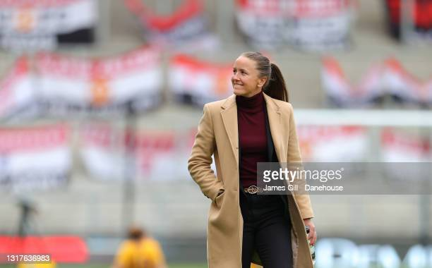 Casey Stoney the manager of Manchester United Women looks on after the Barclays FA Women's Super League match between Manchester United Women and...