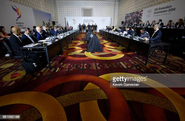 Casey Wasserman LA 2024 Chairman and standing with rest of the bidding committee during the initial meeting with IOC Evaluation Commission May 10 in...