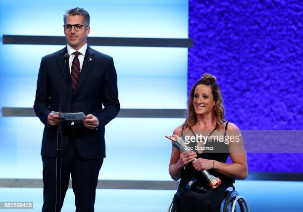 Casey Wasserman and Tayana McFadden are seen on stage during the 2017 Team USA Awards on November 29 2017 in Westwood California