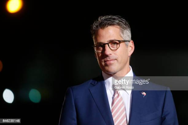 Casey Wasserman Chairman of Los Angeles 2028 talks to the press during the red carpet prior to the Opening Ceremony of the IOC Lima 2017 Session at...