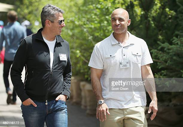 Casey Wasserman chief executive officer of Wasserman Media Group chats with Yousef Al Otaiba United Arab Emirates Ambassador to the United States at...