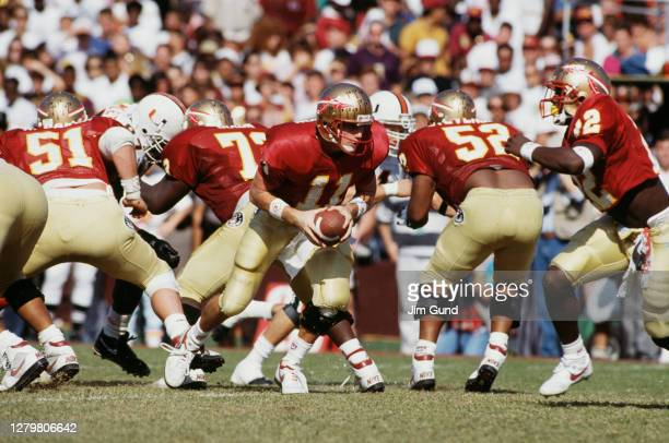 Casey Weldon,Quarterback for the Florida State Seminoles during the NCAA Big East Conference college football game against the University of Miami...