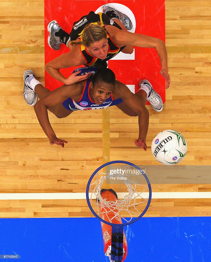 Casey Williams of the Magic and Pamela Cookey of the Mystics compete for the ball during the round seven ANZ Championships match between the Magic and the Mystics at the Energy Events Centre on May 18, 2009 in Rotorua, New Zealand.