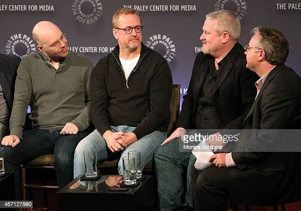 LR Casey Willis Matt Thompson Adam Reed and Clark Collis attend 2nd Annual Paleyfest New York Presents Archer at Paley Center For Media on October 12...