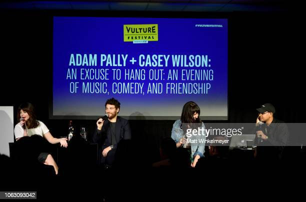 Casey Wilson Adam Pally Chelsea Devantez and Yassir Lester speak onstage during 'Adam Pally and Casey Wilson An Excuse to Hang Out An Evening of...