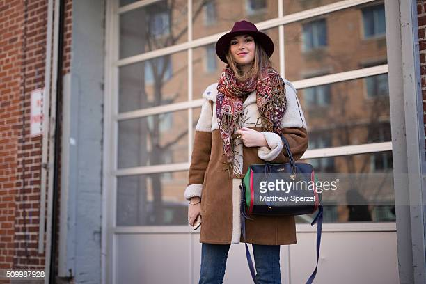 Casey Winston is seen at Jill Stuart wearing Parisian local hat Thailand local scarf Saks coat Zara pants Mcqueen bag Chanel shoes during New York...