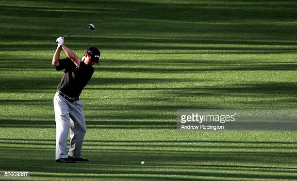 Casey Wittenberg hits a shot on the eighth fairway during the third round of The Masters at the Augusta National Golf Club on April 9 2005 in Augusta...