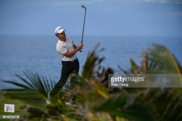 Casey Wittenberg plays his shot from the 14th tee during the first round of the Webcom Tour's The Bahamas Great Exuma Classic at Sandals Emerald Bay...