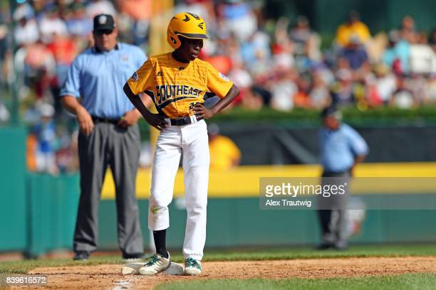 Cash DanielsMoye of the Southeast team from North Carolina stands on third base during the US Championship of the 2017 Little League World Series...