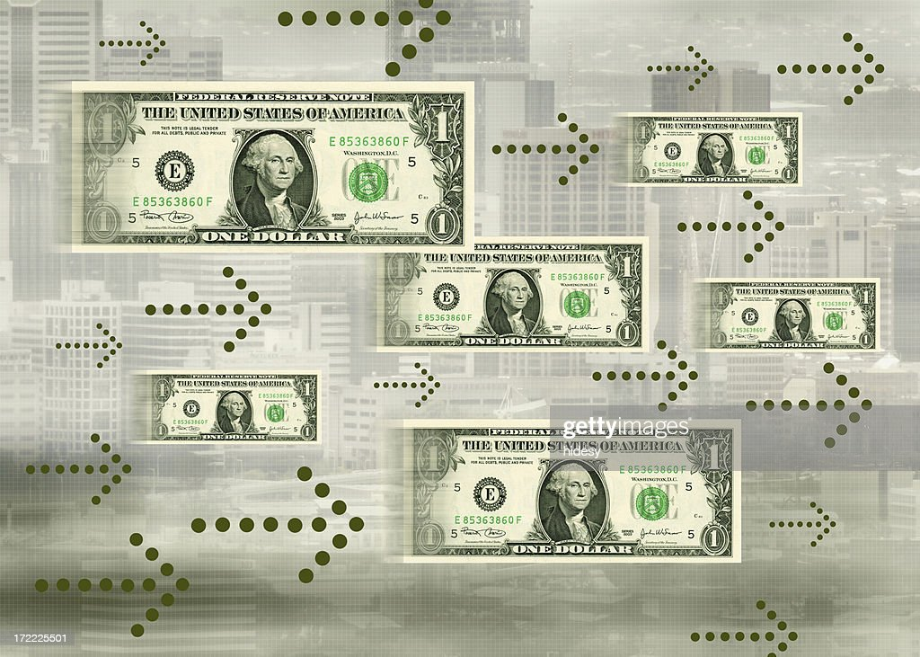 Cash flow concept showing bills following animated arrows : Stock Photo