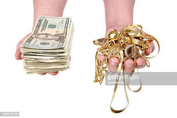 cash for gold - jewellery products stock photos and pictures