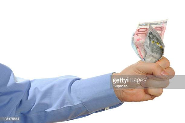 cash held in hand - five euro banknote stock photos and pictures