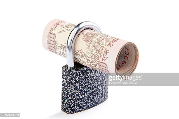 Cash Locked for Money Saving Insurance Concept, Money security concept