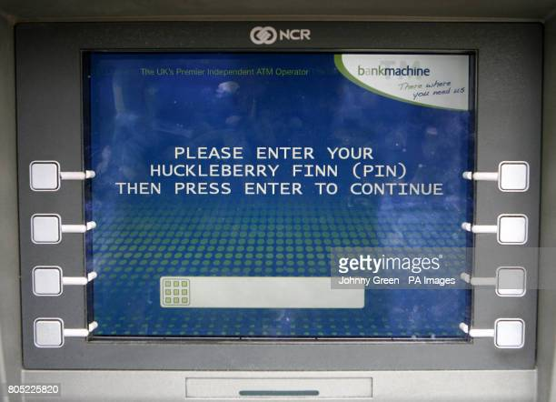 A cash machine on Commercial Street close to Spitalfields Market in east London where customers have the option of withdrawing their money guided by...