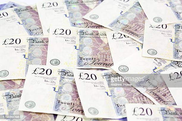 cash - twenty pound note stock pictures, royalty-free photos & images