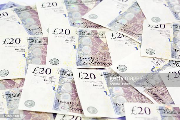 cash - twenty pound note stockfoto's en -beelden