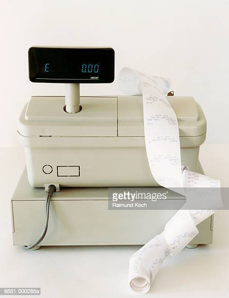 cash register and receipts - addierrolle stock-fotos und bilder