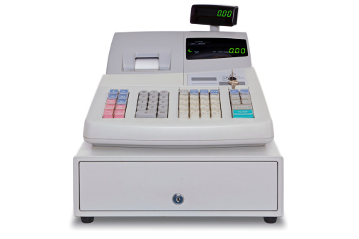 Cash Register isolated with clipping path 503174811