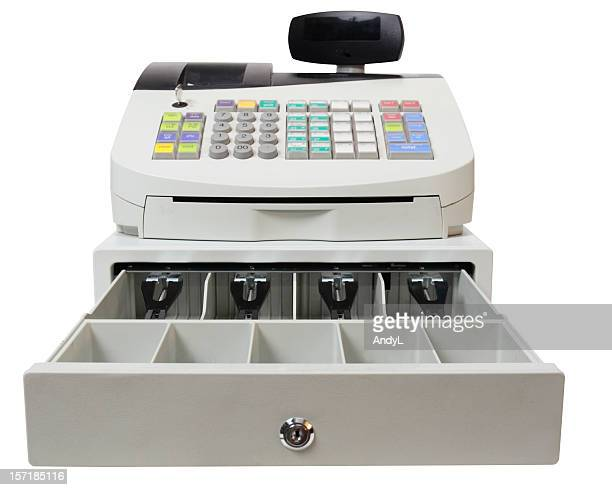 cash register on white with clipping path - cash register stock pictures, royalty-free photos & images