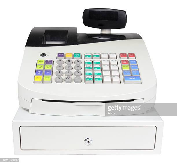 Cash Register on White with Clipping Path