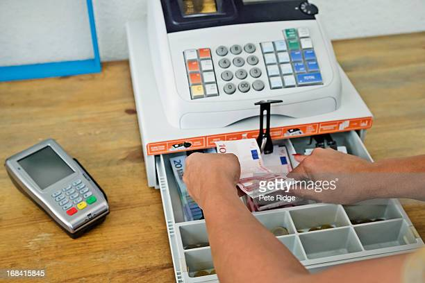 Cash register with chip and pin machine