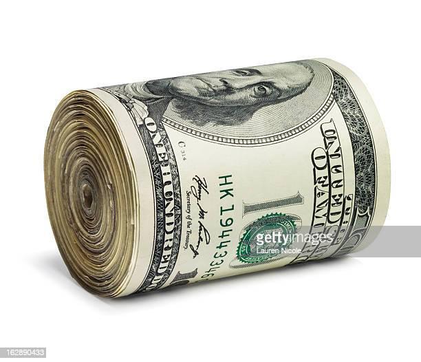 Cash roll of one hundred dollar bills