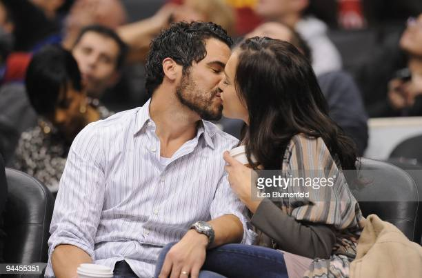 Cash Warren and Jessica Alba kiss eachother during the game between the Indiana Pacers and the Los Angeles Clippers at Staples Center on December 5...
