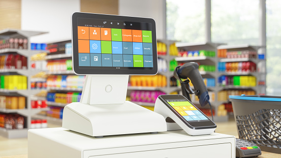 Cashier machine with digital screen in the Supermarket 1143208442