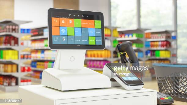cashier machine with digital screen in the supermarket - cash register stock pictures, royalty-free photos & images