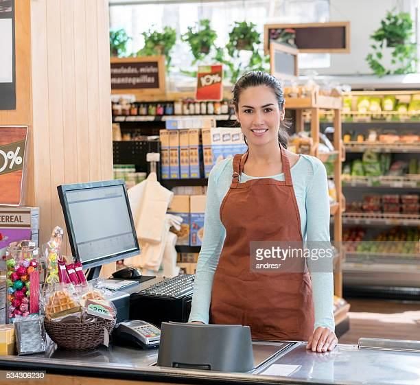 Cashier working at the supermarket