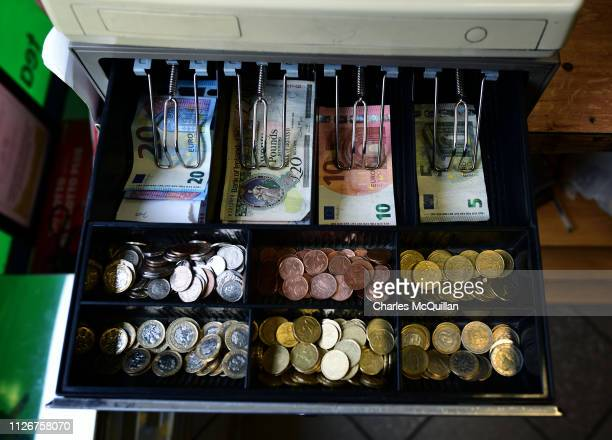 A cashiers till carries Sterling and Euro currencies on February 13 2019 in Pettigo Ireland Britain will leave the European Union on March 29...