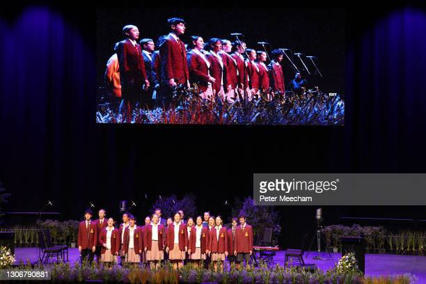 Cashmere High School students sing during the National Remembrance Service For Christchurch Mosques Attack on March 13, 2021 in Christchurch, New...