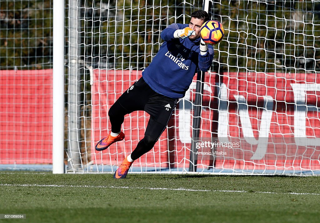 Casilla of Real Madrid during a training session at Valdebebas training ground on January 6, 2017 in Madrid, Spain.