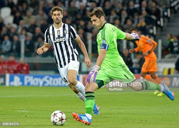 Casillas and Llorente during the Champions League match between Juventus and Real Madrid at Juventus Stadium on November 5 2013 in Torino Italy Photo...