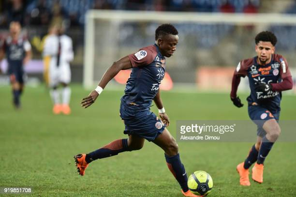 Casimir Ninga and Keagan Dolly of Montpellier during the Ligue 1 match between Montpellier Herault SC and EA Guingamp at Stade de la Mosson on...