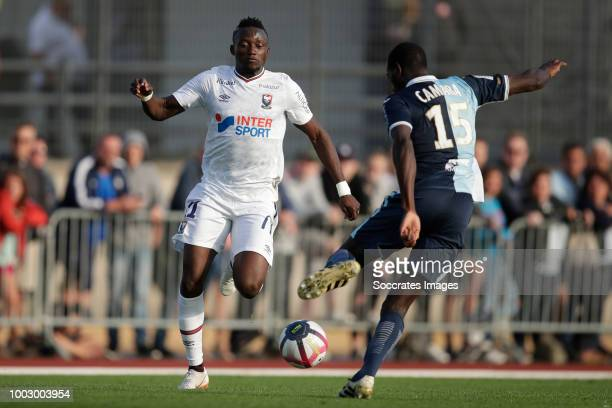 Valentin Voisin of Caen Amos Youga of Havre during the Club Friendly match between Caen v Le Havre AC at the stade pierre compte on July 20 2018 in...