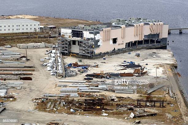 A casino barge is shown in ruins pushed ashore by Hurricane Katrina September 9 2005 in Gulfport Mississippi Damage from the storm is expected to top...