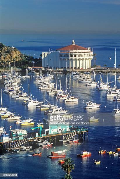 'Casino building and Avalon Harbor, Avalon, Catalina Island, California'