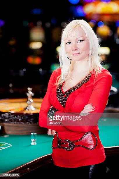 Casino dealer at the roullete table