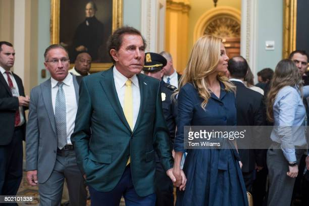 Casino developer Steve Wynn and his wife Andrea Hissom make their way to the Senate Policy luncheon in the Capitol on June 27 2017
