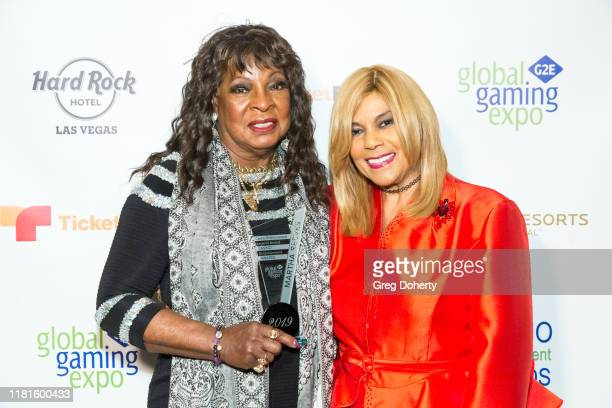 Casino Entertainment Legend Award recipient singer Martha Reeves and singer/songwriter Claudette Rogers Robinson attend the Global Gaming Expo's...