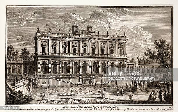 Casino of Villa Albani fuori di Porta Salara in Rome etching from Delle Magnificenze di Roma antica and moderna by Giuseppe Vasi 18th century book 10...