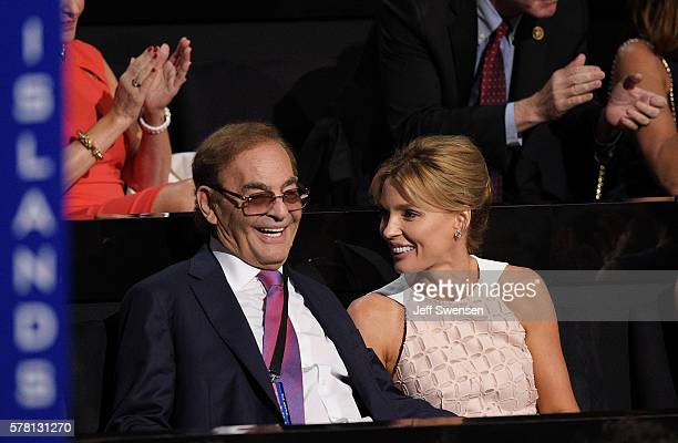 Casino real estate investor Phillip Ruffin along with his wife Oleksandra Nikolayenko attend the third day of the Republican National Convention on...