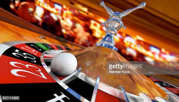casino roulette with ball on number 23 - roulette stock pictures, royalty-free photos & images
