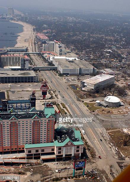 Casino row in east Biloxi Mississippi was devastated by Hurricane Katrina August 31 2005 Two casino barges can be seen in this photo lying on the...