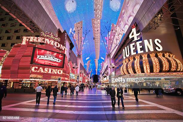 casinos at fremont street experience in las vegas - fremont street experience stock pictures, royalty-free photos & images