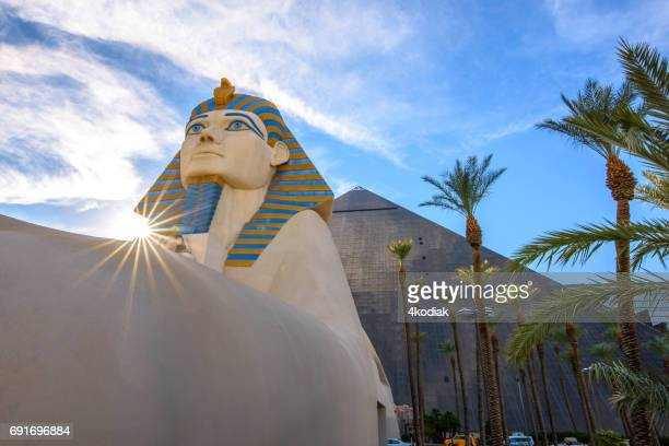 casinos at las vegas in the evening nevada in winter 2017 - excalibur stock photos and pictures