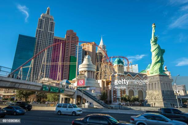 casinos at las vegas nevada in winter 2017 - limestone pavement stock pictures, royalty-free photos & images