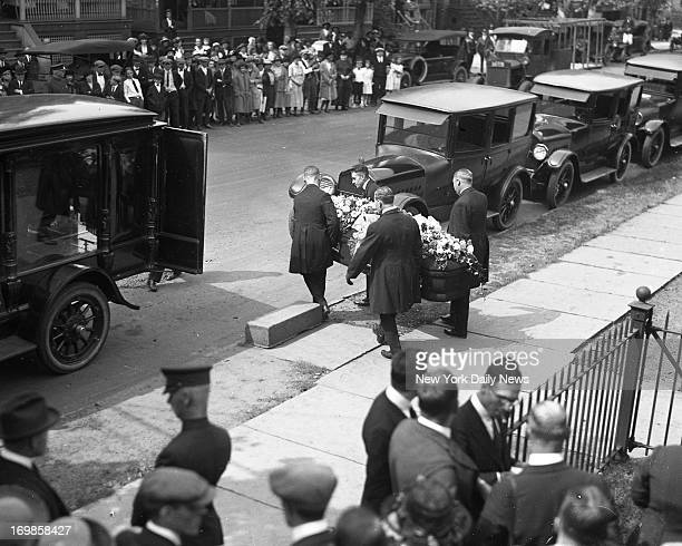 Casket containing body of slain rector leaving the Episcopal Church of St John the Evangelist The Funeral of Rev Edward Hall whose body was found...