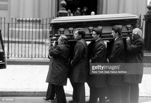 Casket containing the body of Aniello Dellacroce reputed underboss fo the Gambino crime family is carried from Old St Patrick's Church on Mott St...
